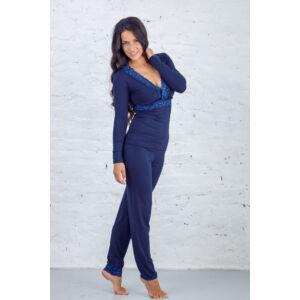 Csipkés hosszú pizsama kék