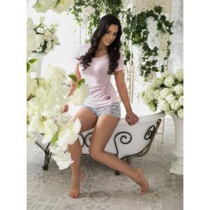 Rózsaszín virágos-matrózós rövid pizsama