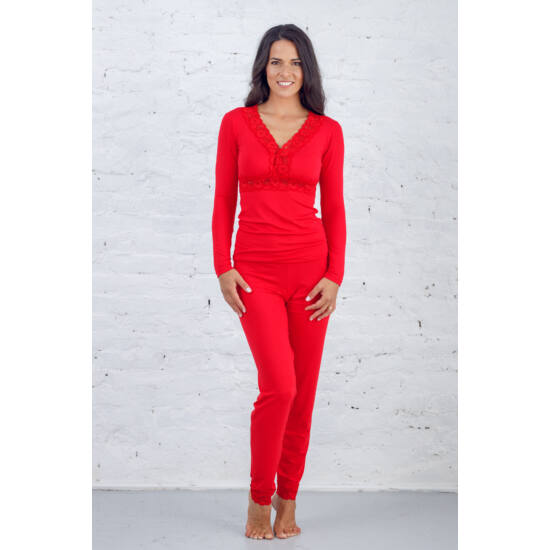 Csipkés hosszú pizsama piros