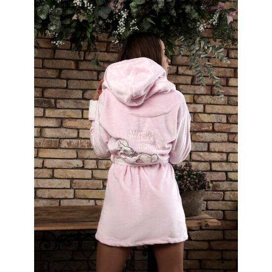 Dupla kapucnis nyuszis köntös rózsaszín