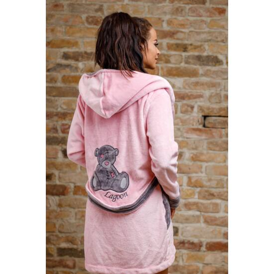 Teddy duplakapucnis köntös- rózsaszín